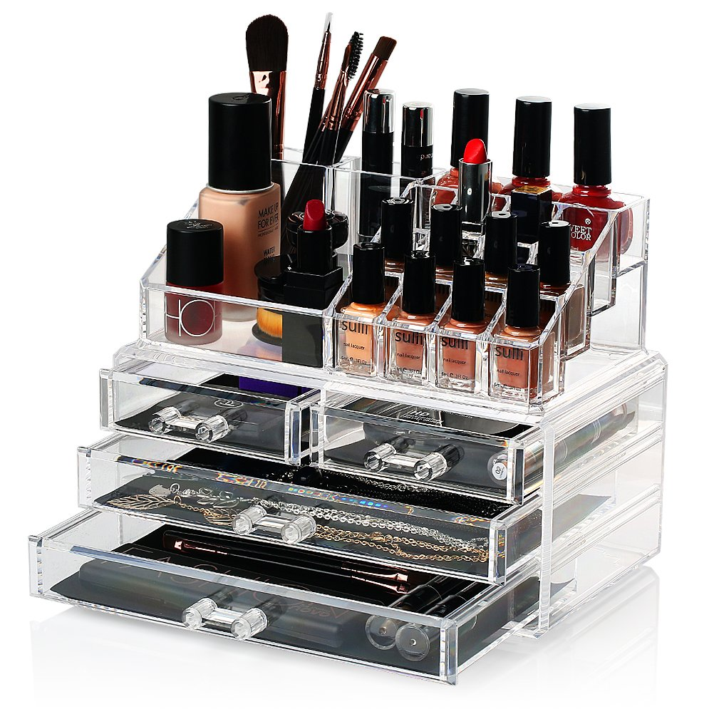 HBF Clear Acrylic Makeup Organiser Exquisite Jewellery&Cosmetic Storage Organiser (1 top & 4 drawers)