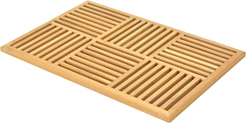 Grade-A Teak Wood Basket Weave Door Shower Spa Bath Floor Mat
