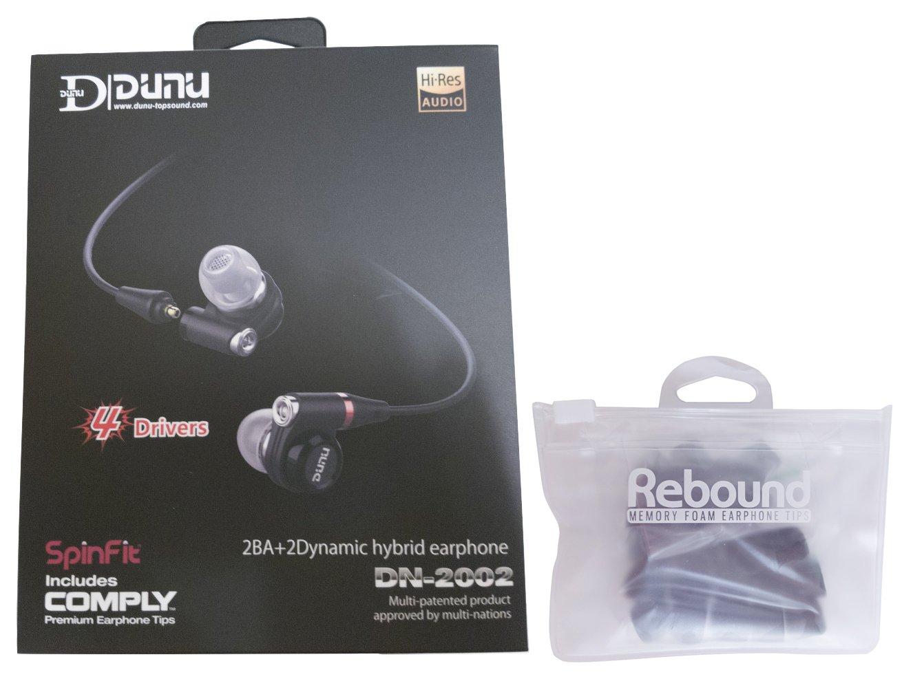 DUNU DN-2002 with Jumbo Rebound Memory Foam Ear Tips Bundle, 2 Items