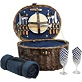 HappyPicnic 'Oval' Willow Picnic Basket with Service for 2 Persons, Natural Wicker Picnic Hamper with Military Green Corduroy Lining, Willow Picnic Set, Picnic Gift Basket