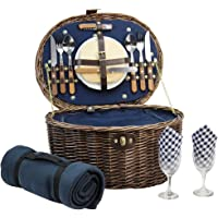 HappyPicnic 'Oval' Willow Picnic Basket with Service for 2 Persons, Natural Wicker Picnic Hamper with Military Green…