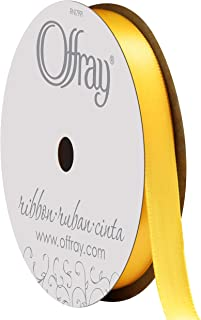 "product image for Berwick Offray 069639 3/8"" Wide Single Face Satin Ribbon, Lemon Yellow, 6 Yds"