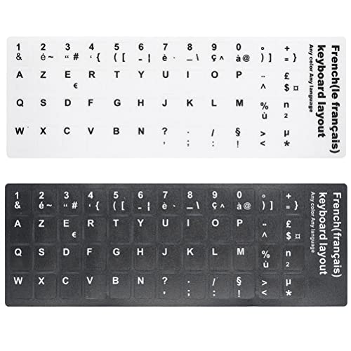 Zhhlinyuan Couverture de clavier 2 PCS [French] Multilingual Foreign Language Learning Keyboard Stickers School Office Keyboard Protection Film Skin Support All Keyboard