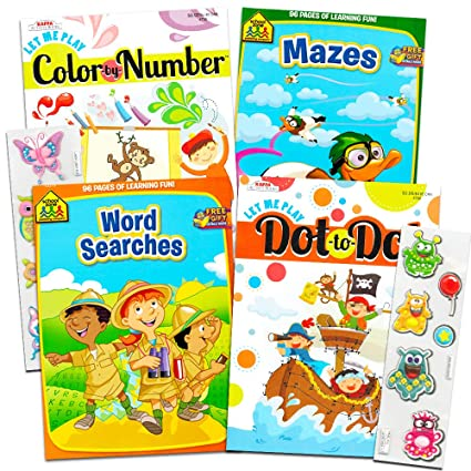 Amazon Com School Zone Activity Book Set Kids 4 Books Mazes