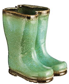 Evergreen Teal Ceramic Rainboot Planter Amazon Ca Patio Lawn Garden