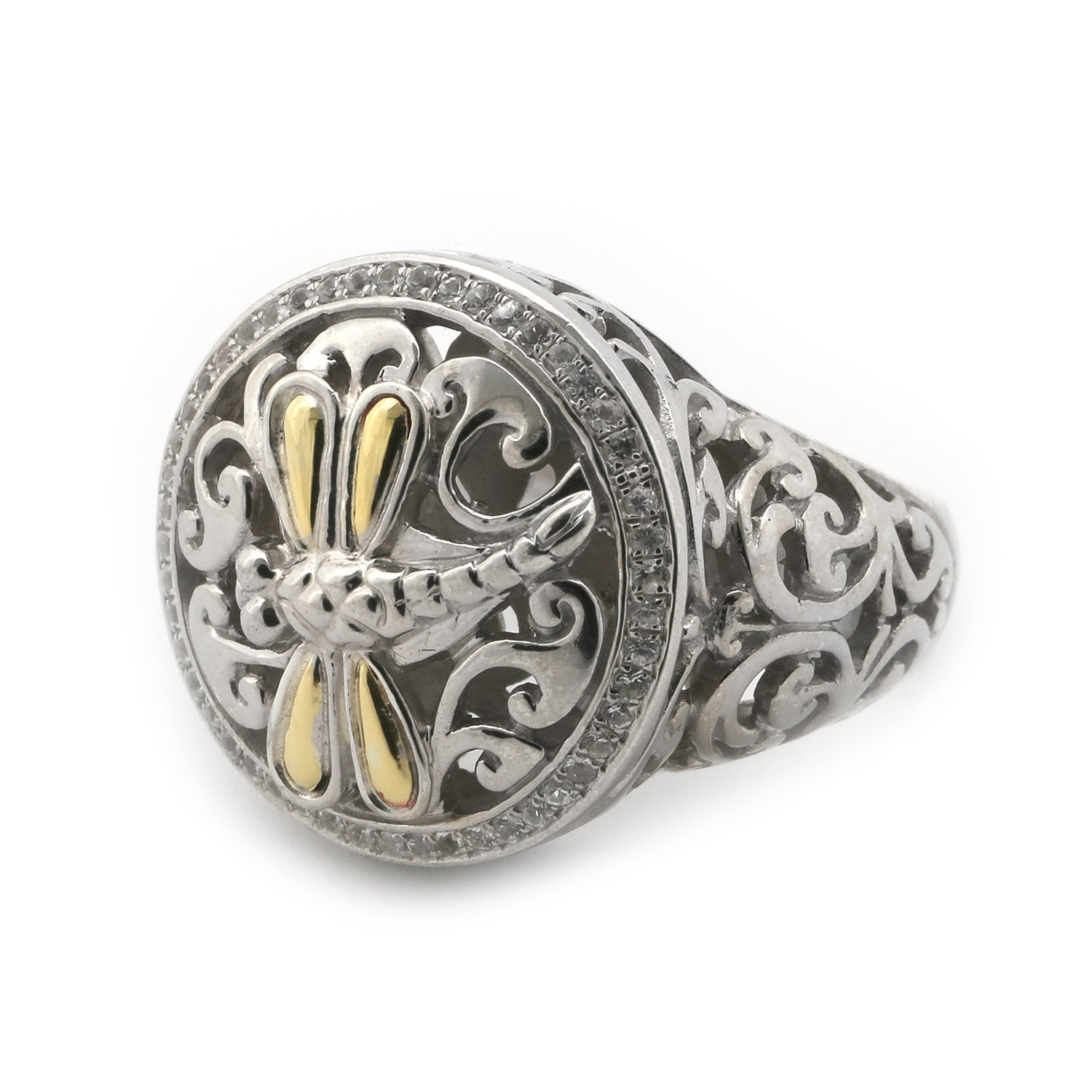 18k Yellow Gold and Sterling Silver White Sapphire Filigree Swirl Dragonfly Signet Ring, Size, 7