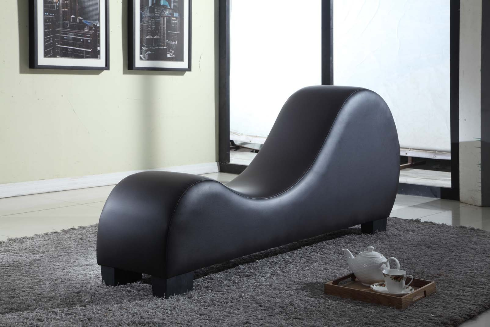 Container Direct 10 Container Furniture Direct Stretch Chaise Ultimate Faux Leather Curved Yoga and Lounge Chair, Black, Regular, by Container Direct