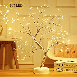 """PXB 20"""" Tabletop Bonsai Tree Light with 108 LED Copper Wire String Lights, DIY Artificial Tree Lamp, Battery/USB Operated, for Bedroom Desktop Christmas Party Indoor Decoration Lights (Warm White)"""
