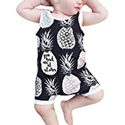 LOTUCY Newborn Baby Boys Pineapple Print Romper Sleeveless One Piece Onesies Bodysuit Size 0-6 Months/Tag70 (Black)