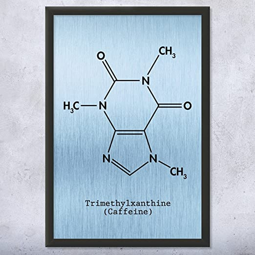 Caffeine Molecule Poster Print Barista Gift Caffeine Wall Art Espresso Bar Decor