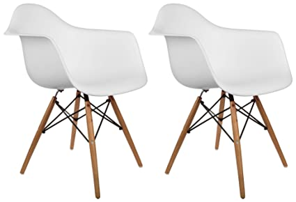 Poly And Bark Vortex Arm Chair, White, Set Of 2