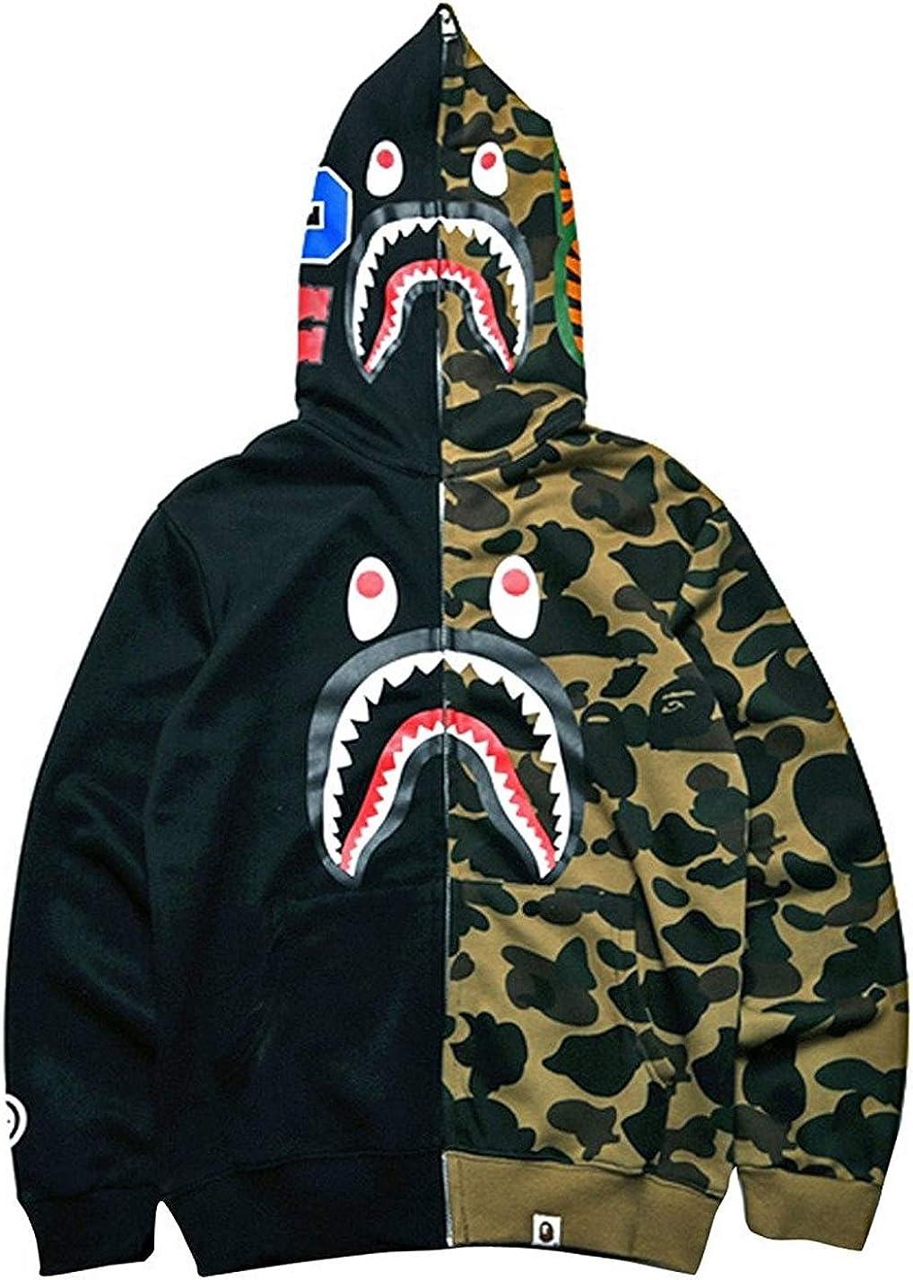 Big Mouth Shark Ape Bape Camo Mens Women Hoodies Sweatershirt Casual Zip Up Hip-Hop Funny Tops