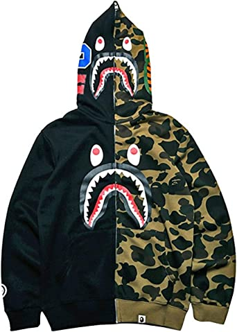 consumidor Nota lava  Big Mouth Shark Ape Bape Camo Mens Women Hoodies Sweatershirt Casual Zip Up  Hip-Hop Funny Tops at Amazon Men's Clothing store