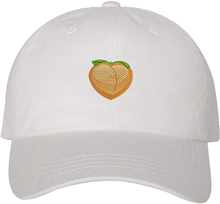 bc76b3afc38439 Prfcto Lifestyle Men's Peach Emoji Dad Hat Unisex Unstructured Peach Fruit  Cap Low Profile Hat Embroidered Baseball Cap One Size fits Most White: ...