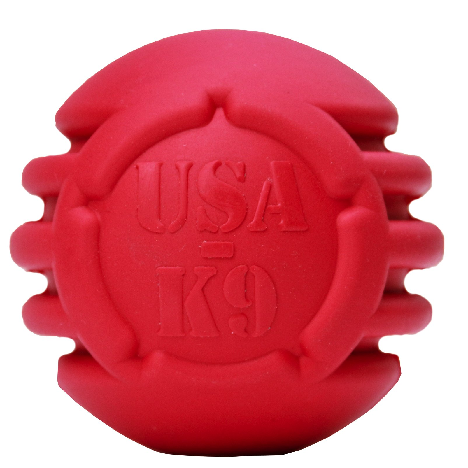 USA-K9: Stars and Tripes Treat Dispenser Ball Great Cew Dog Toy made with Natural Rubber Crazy Bouncer USA Made