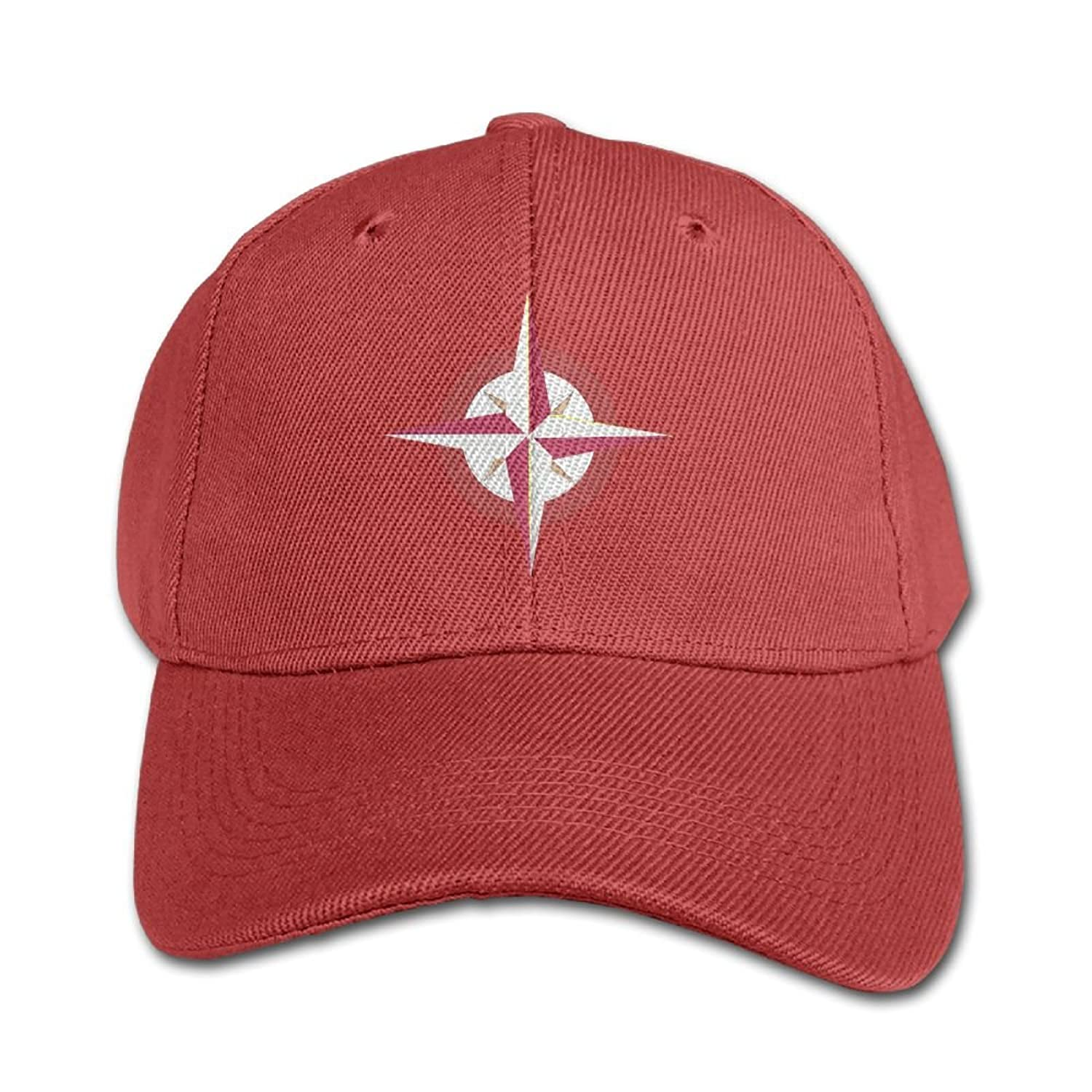 cheap Huajsu Tan-Red-Compass Unisex Design 100% Cotton Flat Hat Baseball Cap Hip-Hop Peaked Cap Adjustable Cap Hat For Boy &Girl Navy hot sale