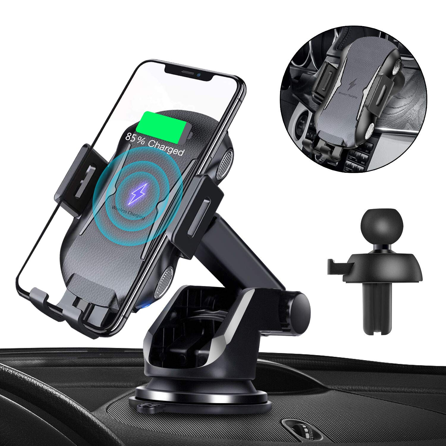 Automatic Clamping Qi Wireless Car Charger, SANCEON 10W/7.5W Fast Charger Car Mount Phone Holder for Air Vent Dashboard Compatible with iPhone Xs/Xs Max/XR/X/8/8Plus, Samsung Galaxy S10/S10+/S9/S9+/S8 by SANCEON (Image #1)