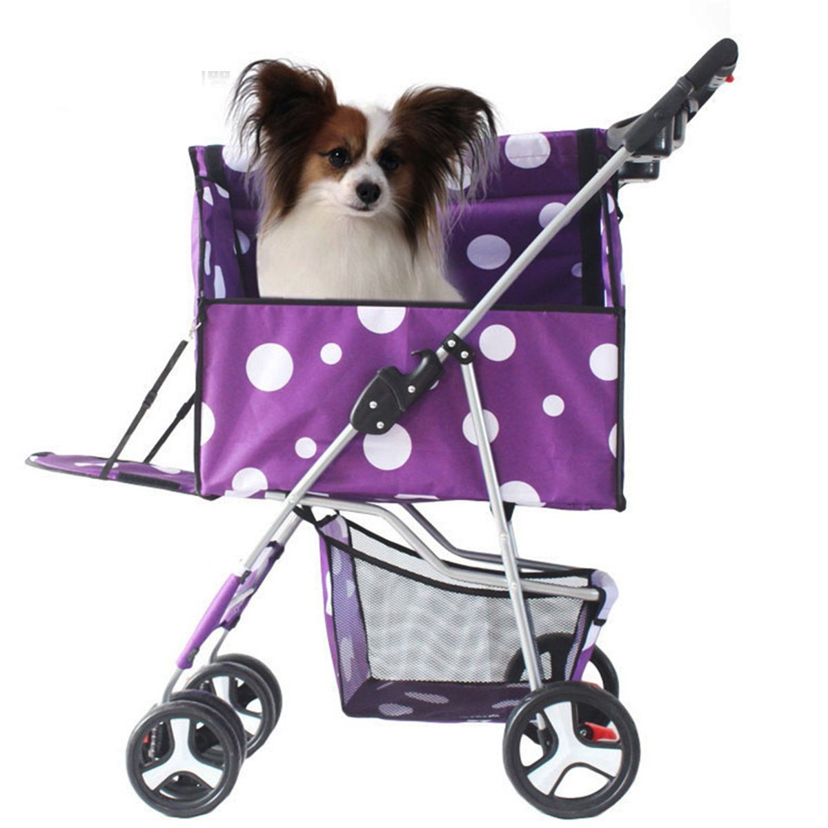 Purple shanzhizui Pet stroller Dog carts fold Removable and washable Split type Pet car bag kennel Pet house Rainproof Portable, pink