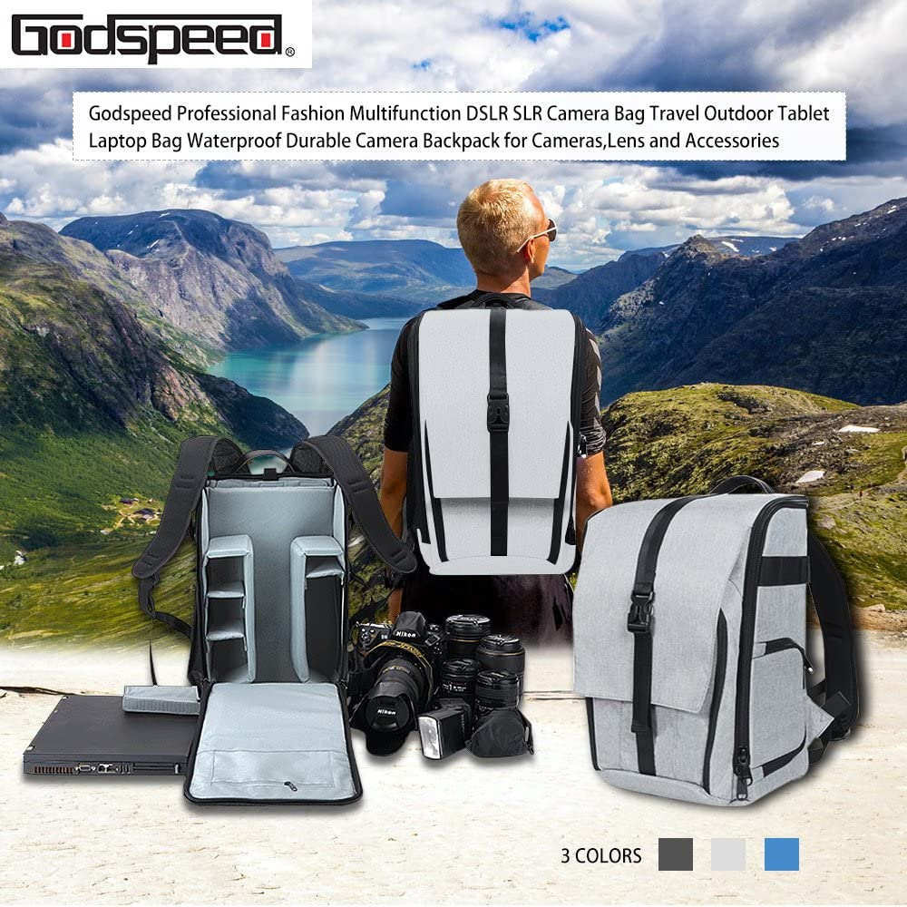 Blue Godspeed DSLR Camera Backpack Camera Bag for Canon Nikon Sony Olympus Samsung Panasonic Camera Lens and Accessories