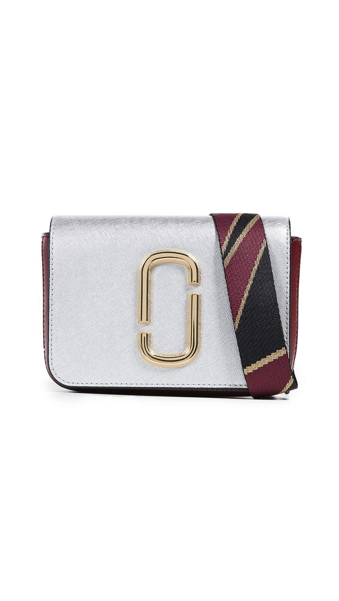 Marc Jacobs Women's M/L Hip Shot Convertible Belt Bag, Silver, One Size