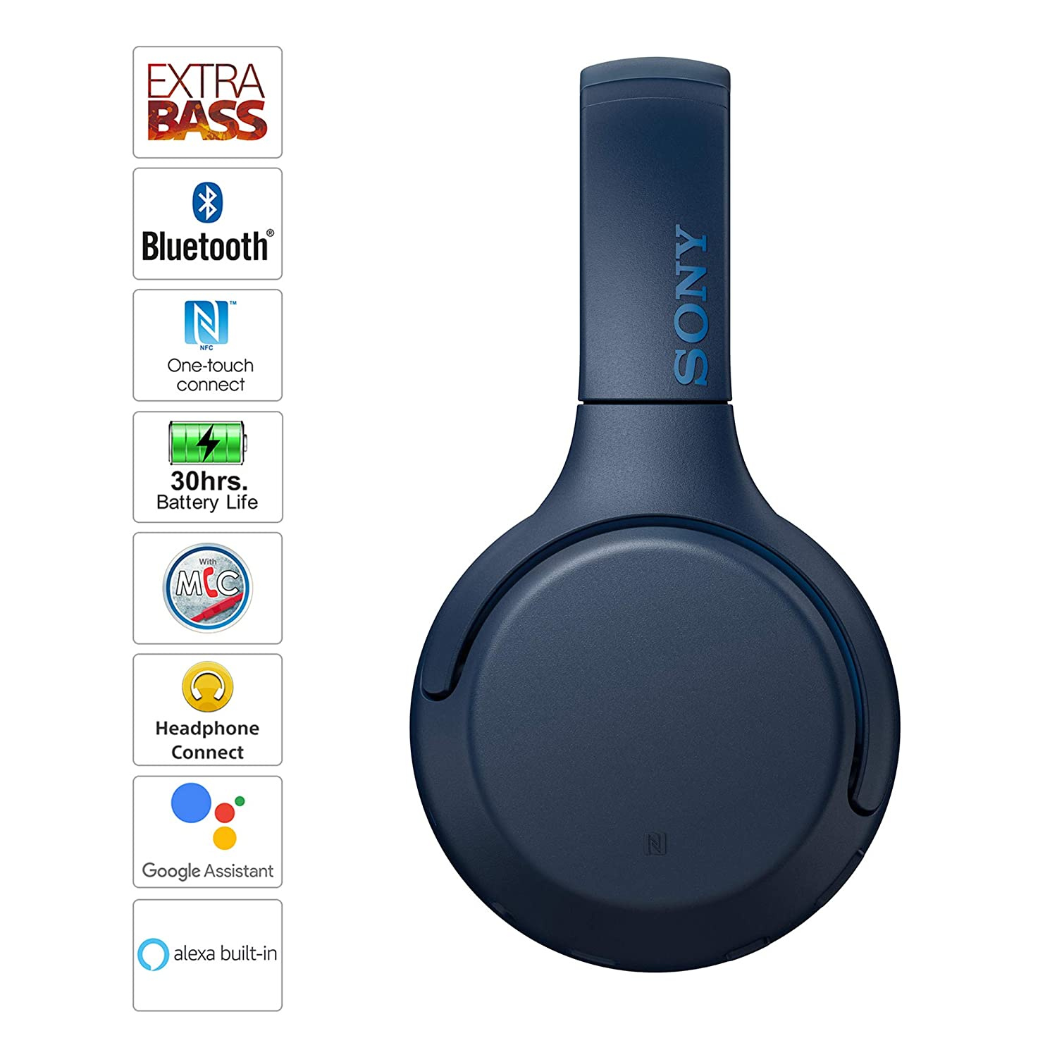 Sony WH-XB700 Wireless Bluetooth Extra Bass Headphones with 30 Hours Battery Life, Passive Operation, Quick Charge