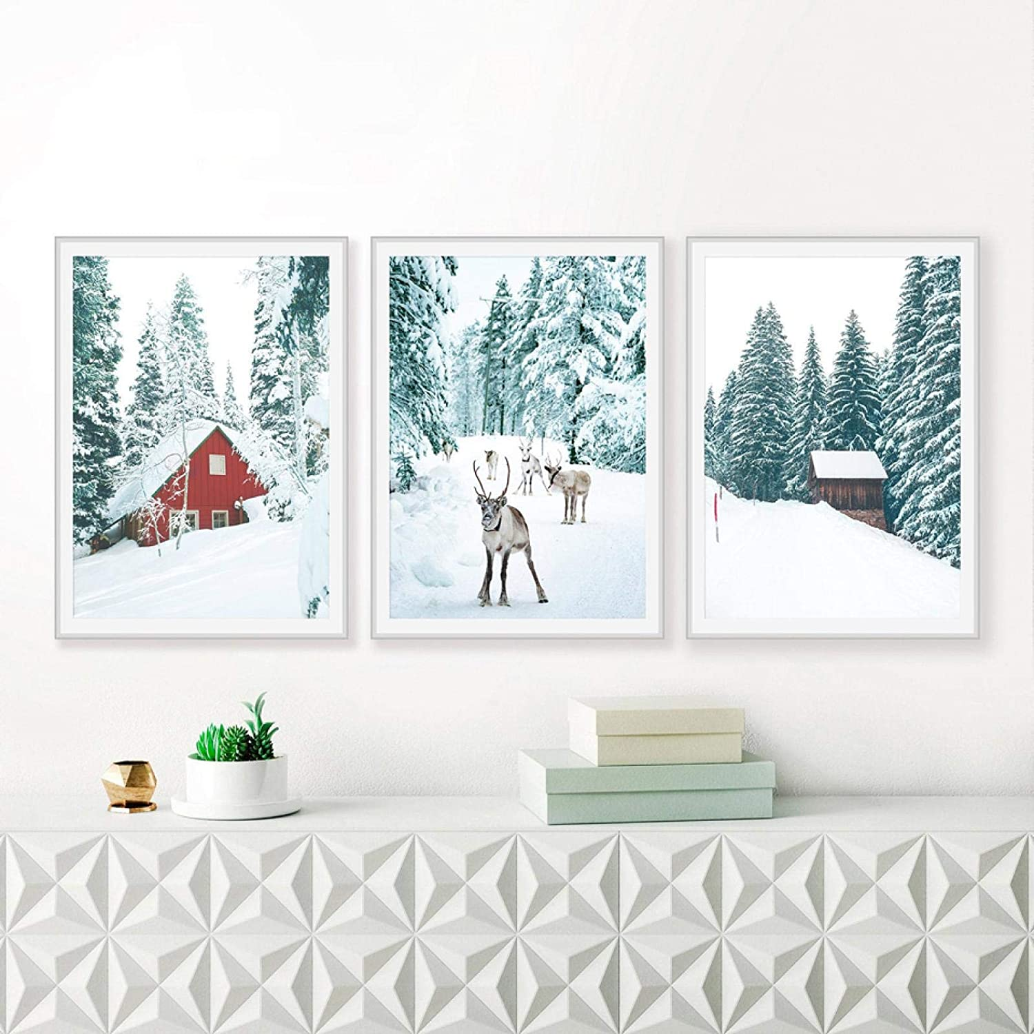"""ThinkingPower Wall Deer in Snow Winter Tree Poster Nordic Canvas Art Painting Wall Christmas Decor for Living Room Home Decor 11.8""""x15.7""""(30x50cm) x3 Frameless"""
