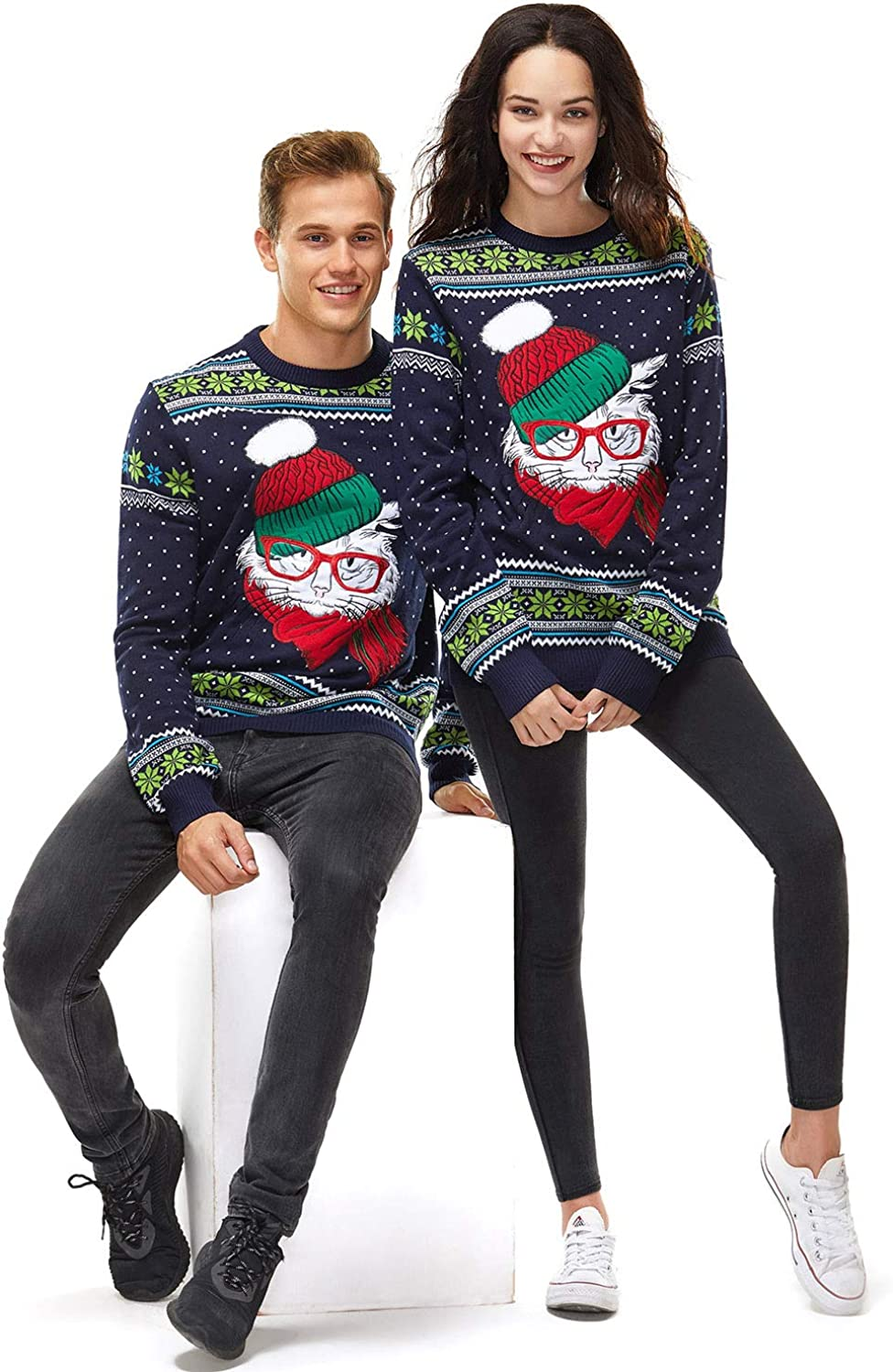 Unisex Ugly Mens Christmas Sweater Cat Animal Knitted Holiday Pullover