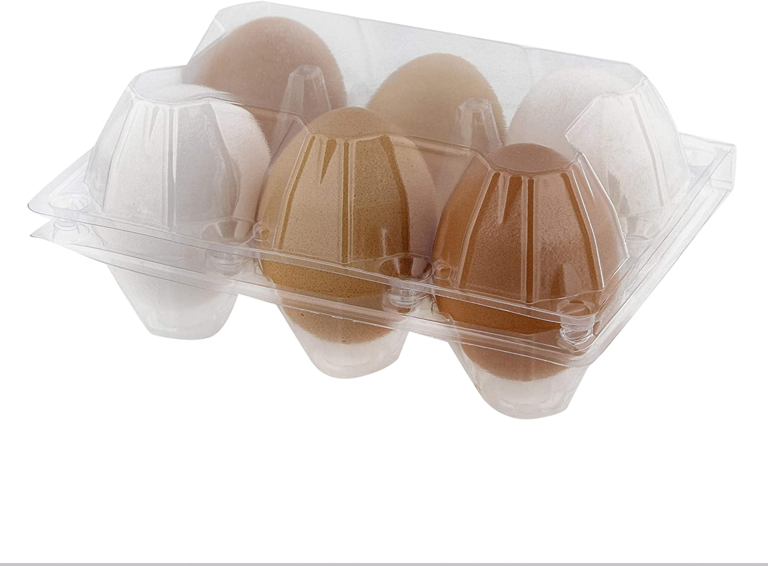 Rural365 Plastic Egg Carton for 6 Eggs, 50ct - Reusable Chicken Egg Holder, Stackable Egg Storage Container with Lid