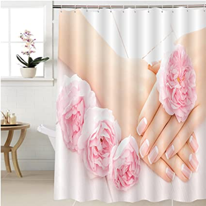 Gzhihine Shower Curtain French Manicure With Rose Flowers Spa Bathroom Accessories 48 X 78 Inches