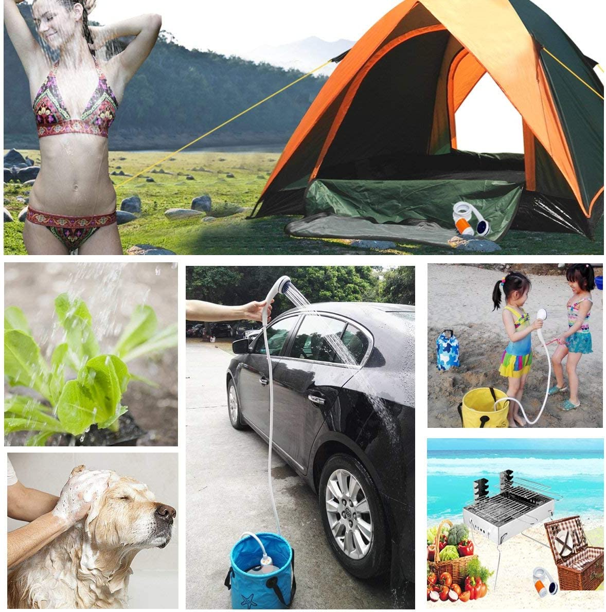Iron Hammer Portable Shower Camp Shower Rechargeable Shower high Capacity 4800mAh Camping Shower pet Shower, with Shower Valve (Shower with Water Valve) : Sports & Outdoors