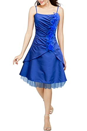 BlackButterfly Elsa Clarity Satin Floral Corsage Prom Dress (Blue, UK ...