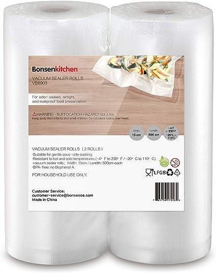 Oferta amazon: Bonsenkitchen Rollos al Vacio para Envasadora al Vacío, 2 Rollos 15 x 600cm Bolsas de Vacio Gofradas para Conservación de Alimentos y Sous Vide Cocina & Boilable - VB8903