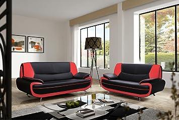 Mobilier Deco Ensemble canapé 3+2 plces Noir et Rouge Design MUZA ...