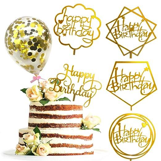 Drcurn - Juego de 5 decoraciones para tarta de cumpleaños ...