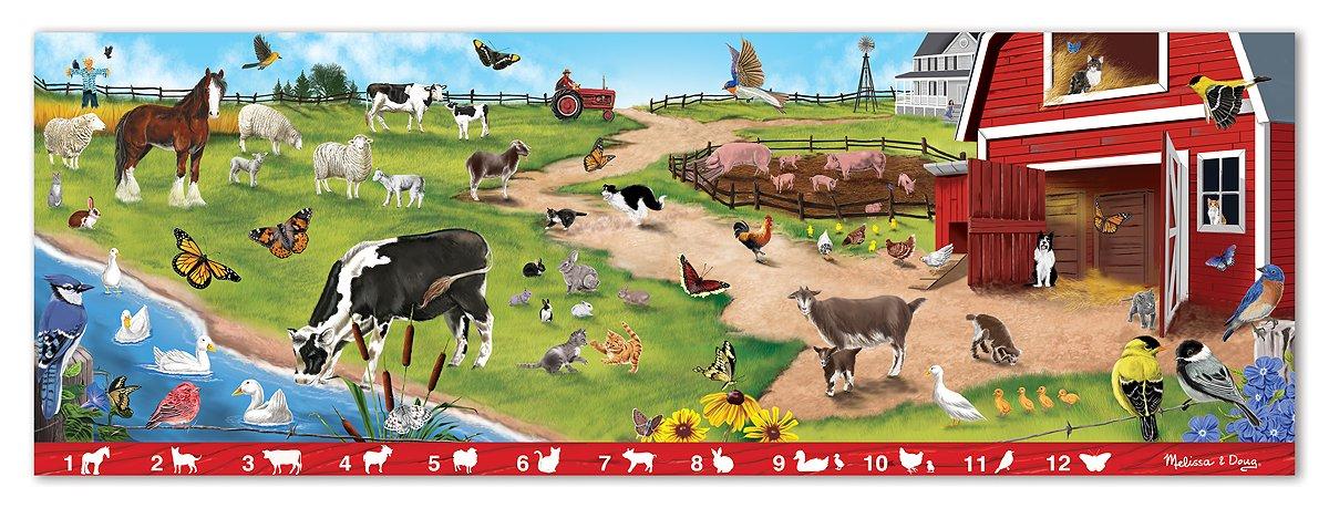 Melissa & Doug Search and Find Sunny Hill Farm Jumbo Jigsaw Floor Puzzle (48 pcs, over 4 feet long) by Melissa & Doug