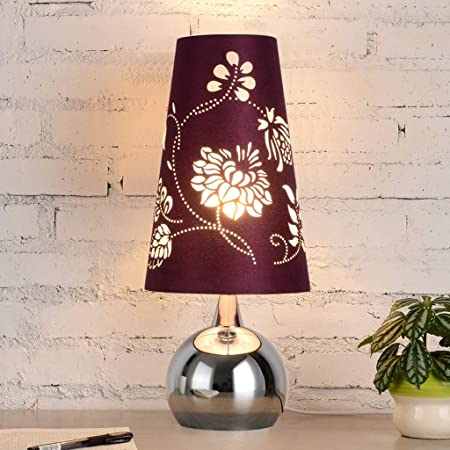 Amazon.com: ChuanHan Ceiling Fan Light Chandelier Lightings Table Lamp Modern Contemporary Led Bedside Desk Simple Romantic Purple Flower Cloth Shade Chrome ...