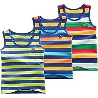 Coralup - Camiseta interior sin mangas para niños y niñas, 100 % algodón, diseño de dinosaurio, 3 unidades, cómoda…