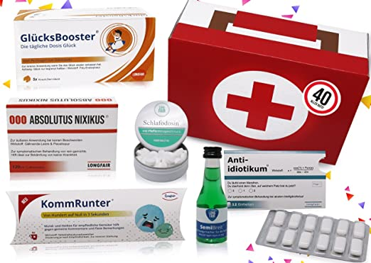 40 Geburtstag Erste Hilfe Set Geschenk Box Witziger Sanikasten 8 Teilig Spaßgeschenk Zum 40 Geburtstag
