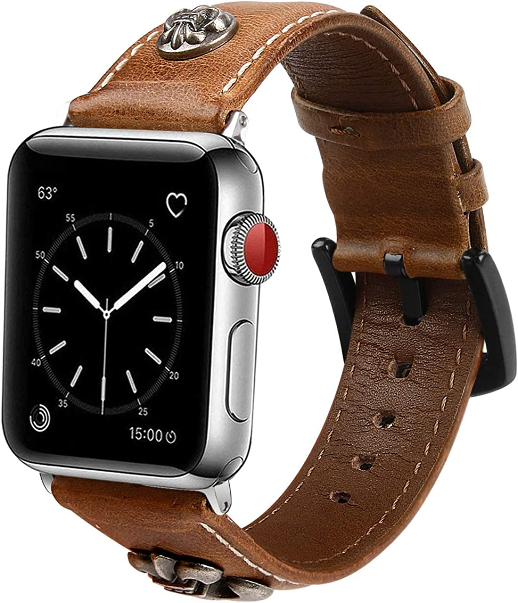 Leotop Smartwatch straps Compatible with Apple Watch Band 44mm 42mm, Genuine Leather Wrist Strap Men Women Retro Bracelet Replacement with Metal Buckle Compatible iwatch Series 5/4/3/2/1 (Brown)