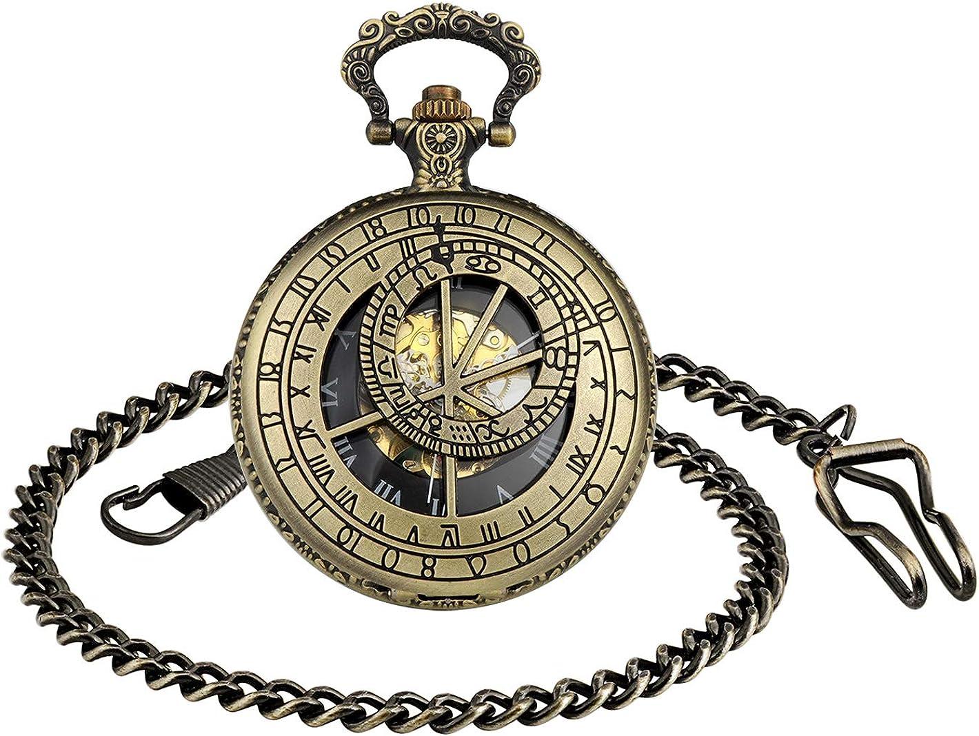 MICGIGI - Reloj de bolsillo para hombre con cadena, analógico, cuerda manual, 12 constelación, relojes de bolsillo mecánicos de bronce