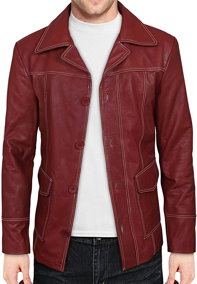 White Stitching Fashion Club Coat in Red Leather