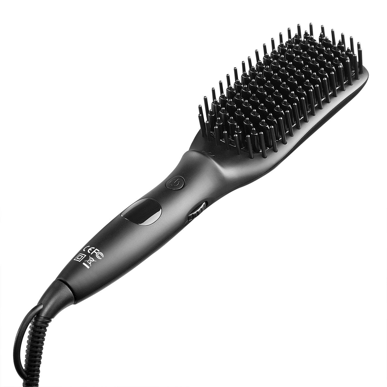 ELFINA Spazzola Lisciante elettrica per capelli, piastra per capelli professionale con tecnologia di riscaldamento MCH, spazzola ionica con temperatura regolabile e protezione anti surriscaldamento. Per lisciare i capelli lunghi