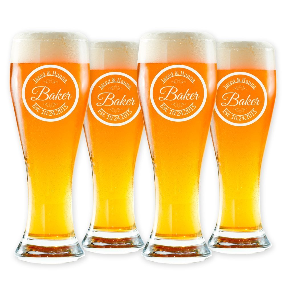 Personalized Pilsner Beer Glass, Customized Pint Glass, Set of 4 Housewarming Gifts, Wedding Favors, (Pilsner 16oz.)