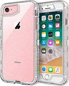 iPhone 8 Case, iPhone SE Case, Anuck 3 in 1 Heavy Duty Defender Shockproof Full-Body Clear Protective Case Hard Plastic Shell & Soft TPU Bumper Cover for Apple iPhone 7/8/SE 4.7 inch - Clear Glitter