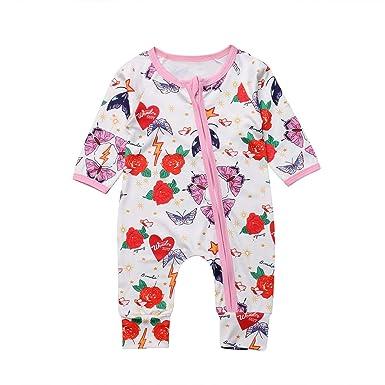 e404868f358 Amazon.com  Newborn Baby Girls Long Sleeve Romper Floral Zipper Jumpsuit  Sunsuit Outfits 0-24M  Clothing
