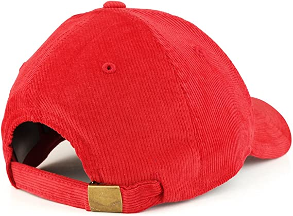 Red Cotton Structured Low Crown Curved Corduroy Baseball Ball Cap Hat