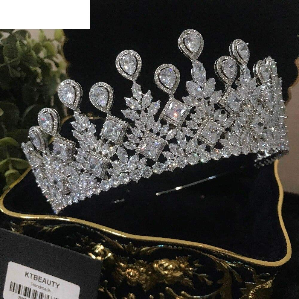 Women Girls Diamond Silver Zircon Crown Tiara Diadem D Large Crown Crown Tiara Crown Royal Bride Bridesmaid Wedding Dress Jewelry Women Er1Ge88