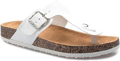 696658ca6c3f ShoBeautiful Women s Slide Sandal Thong Slip On Flip Flop Toe Loop Cork  Buckle Faux Leather Beach