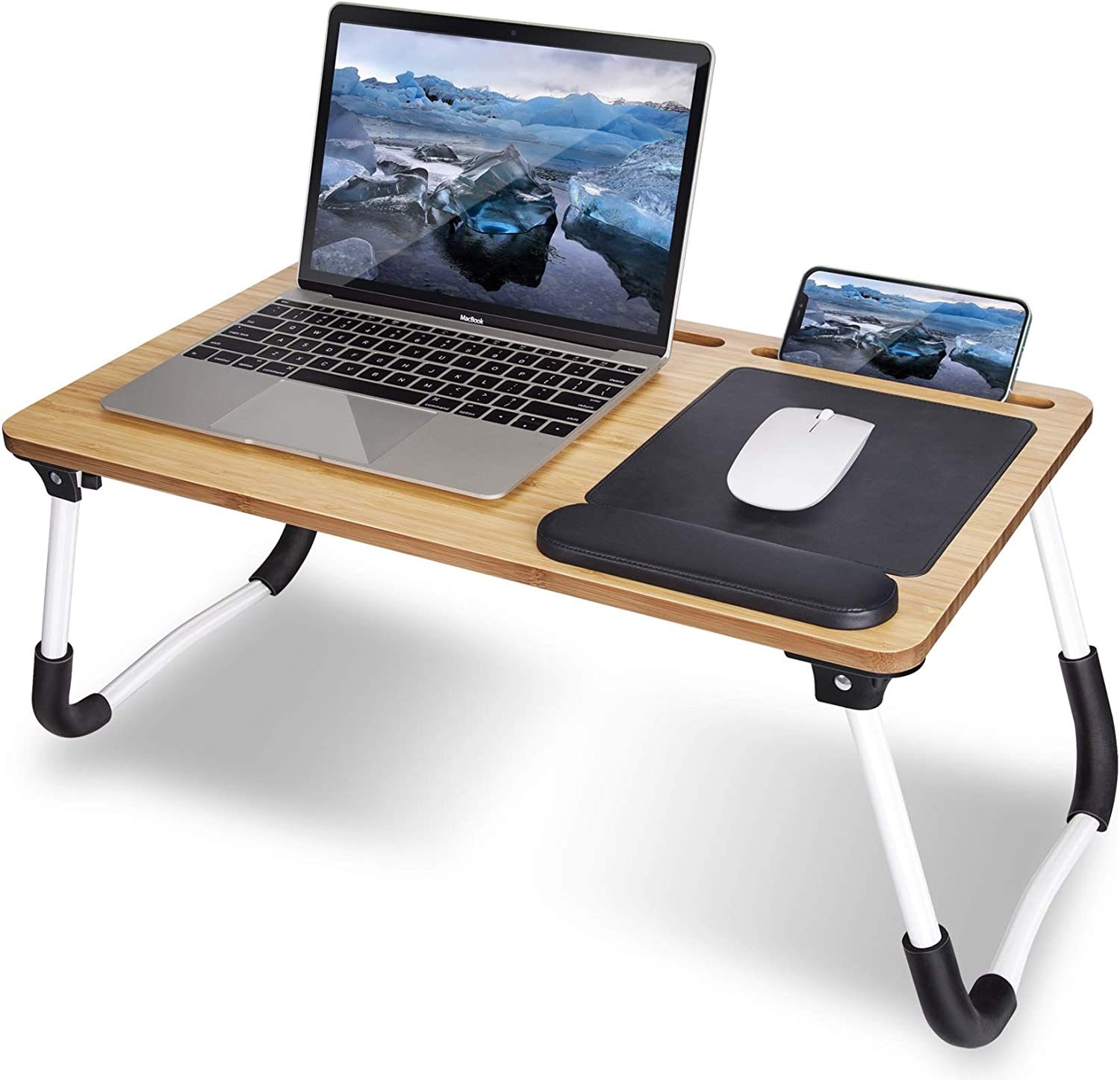 Lap Desk, Laptop Desk for Lap with Mouse Pad: Bamboo Lap Desk for Working from Home on Bed/Couch/Sofa/Floor