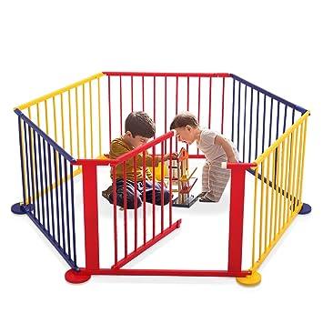 Amazon.com : LAZYMOON Multicolored Wood Baby Playpen 6 Panel Kids ...